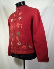 Nomadic Traders Sweater Jacket Embroidered Full Zip Lined Women's Sz Small