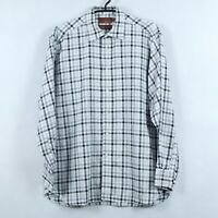 MARKS AND SPENCER COLLEZIONE Mens Grey Check Cotton Shirt SIZE 41/16, Large, L