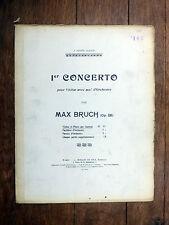 PARTITION ANCIENNE Max Bruch 1er CONCERTO pour violon (accomp. piano) DURAND