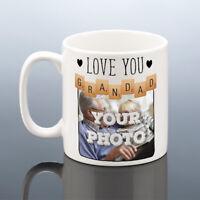 GRANDAD PHOTO MUG Personalised Christmas Gift Scrabble Love Grandpa Birthday Cup