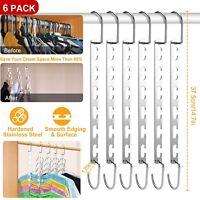 Metal Wonder Magic Closet Hanger Organizer Hook Space Saving Clothes Rack L @w!