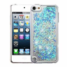 for iPod Touch 5th & 6th Generation Blue Hearts Glitter Liquid Waterfall Case