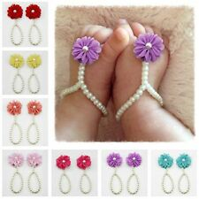 Toddler Infant Kids Baby Girl Barefoot Flower Pearl Sandals Shoes Toe Blooms