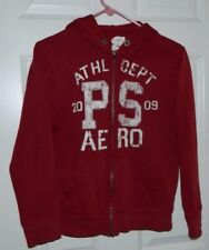 Boys Youth P.S. Aeropostale Solid Maroon Long Sleeve Hooded  Track Jacket Size L