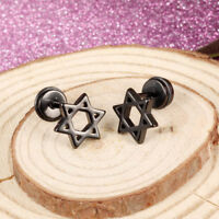 Star of David Silver Black/Yellow Gold GP Surgical Stainless Steel Earrings Gift