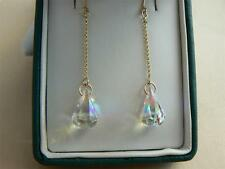 9ct Gold chain drop earrings, Swarovski elements clear AB Raindrop crystals