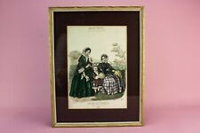 French 19C Lady Fashion Print Child Musee des Familles Gold Frame Engraving