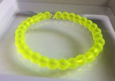 Neon Yellow Coloured Frosted Glass Bead Memory Wire Bangle / Bracelet.