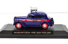 Moskwitsch 400-420 blau-rot Polizei Maßstab 1:43 in Vitrine
