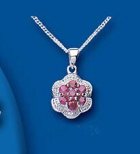 Markenlose Echte Edelstein-Halsketten & -Anhänger aus Sterlingsilber mit Rubin