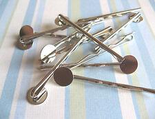 20pcs Bobby Pins with 10mm Pad - Silver - DIY