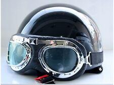 Vintage Motorcycle Motorbike Scooter Half Helmet  Solid Black+ Free Goggles.*