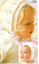 Baby Girl bonnet knitting  pattern fits ages 0- 10 years DK wool