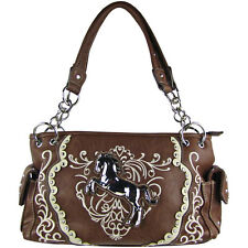 BROWN WESTERN STITCH METAL HORSE DESIGN LOOK SHOULDER HANDBAG CONCEALED CARRY