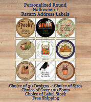 Colourful Cute Personalized HALLOWEEN 1 FALL ROUND Address Labels Pumpkins Crows