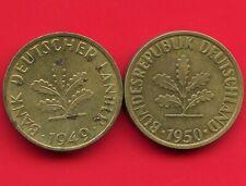 Germany 1949 'D' & 1950 'J' 10 Pfennig Coins