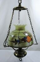 Vintage Hurricane Style Hanging Light Swag Lamp Hand Painted Fruits Glass Globe