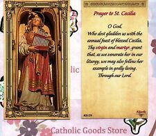 Saint St. Cecilia with Prayer - Glossy Paperstock Holy Card