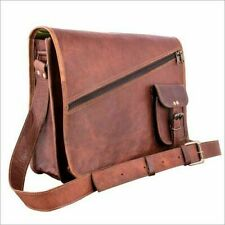 New Vintage Men's Genuine Brown Leather Messenger Shoulder Laptop Bag Briefcase