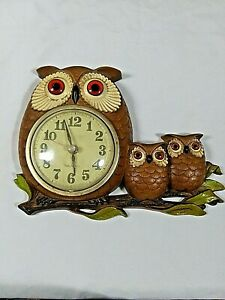 Owl Clock Vintage 1972 Burwood