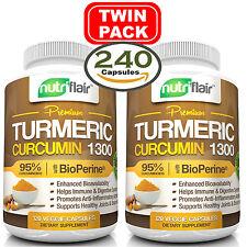 ▶ 2X Turmeric Curcumin Root w/ Bioperine®, 1300mg, 95% Curcuminoids (240 Caps)