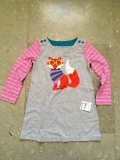 Mini Baby Boden Toddler Girls 3-4 Grey Dress Fox Glasses Applique