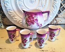 Antique Hand Painted Grapes Cider Lemonade Beaded Pitcher Set Water Wine Tea