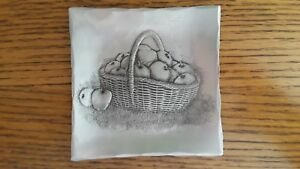 Art Iron Etched Small Dish of a basket of apples was HANDMADE in a Forge in PA