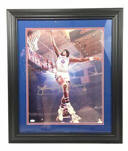 Julius Erving Dr.J Signed 16x20 Photo Framed JSA Coa Philadelphia 76ers