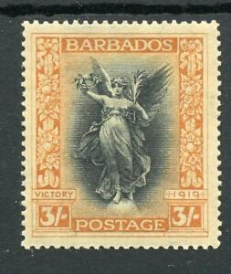 Barbados 1920-21 Victory 3s black and dull orange SG211 MVLH - toned gum