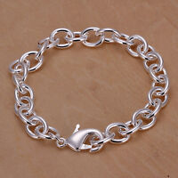 """925Sterling Silver Solid Silver 8MM 8"""" Thick Lobster Unisex Chain Bracelet H089"""