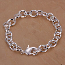 "925Sterling Silver Solid Silver 8MM 8"" Thick Lobster Unisex Chain Bracelet YH089"