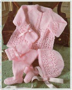 Baby Dk Knitting Pattern Matinee Cardigan Pram Set Sizes 16- 22  inches #40