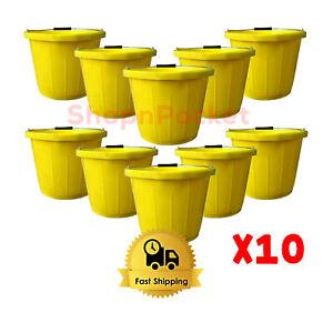 Plastic Bucket Yellow Heavy Duty Builders Mixing Farming 3 Gallon / 14 Litre