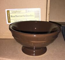 Longaberger Woven Traditions Pottery Ice Cream Bowl in Chocolate - NIB!