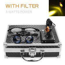 Dental 3w Led Headlight With Filter 35x Binocular Loupes Aluminum Box Black
