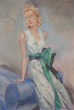 Peinture de Fabien FABIANO (1883-1962) femme élégante vers 1940 Domergue