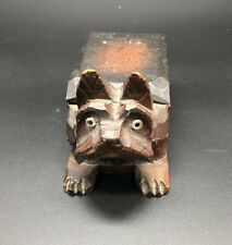 VINTAGE CARVED SCOTTY DOG SMALL WOODEN BOX