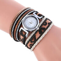 Fashion Women Stainless Steel Weave Leather Crystal Bracelet Quartz Wrist Watch