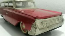 VINTAGE TIN TOY CAR FRICTION 60's CHINA MF 962 TRAVELLING ORIGINAL RED LARGE
