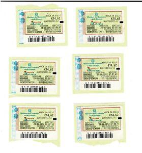N.1 MARCA DA BOLLO €. 14,62 DEL 29/06/2012 (più pezzi disponibili) MARCHE VALIDE