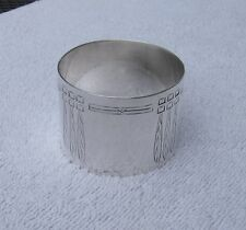 Fine GERMAN 800 Silver Large NAPKIN RING-Stylized FEATHER? Engraving-Maker WS