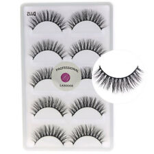 5 Pairs/lot 3D Real Mink Fake Eyelashes Cross Messy Soft Lightweight Lashes D112