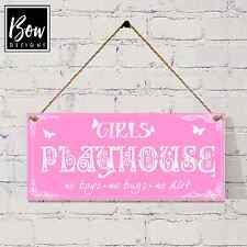 G020 Girls Playhouse sign, no boys allowed sign plaque wendyhouse den sign