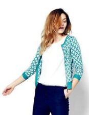 Boden Size 6 Teal Green & White Retro Pop Art Full Zip Cardigan Sweater Jacket