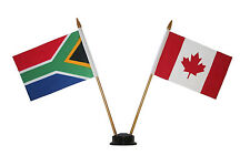"CANADA & SOUTH AFRICA 4"" X 6"" DOUBLE STICK FLAG WITH BLACK STAND ON 10"" PL. POLE"