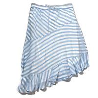 Lauren Ralph Lauren Womens Skirt A Line Asymmetric Ruffles Striped Bottom Size 8