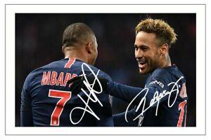 NEYMAR JR & KYLIAN MBAPPE PARIS ST GERMAIN PSG SIGNED AUTOGRAPH  PHOTO PRINT