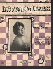 Let's Agree to Disagree 1921 Mamie Smith Sheet Music