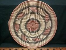 Vintage Native American Indian Style woven flat basket  92 year old estate 16""